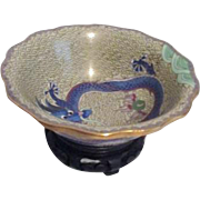 Small Cloisonne Bowl with Dragons and Pearl of Wisdom on Carved Stand