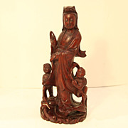 SALE Vintage Wood Carving of Woman with Two Children