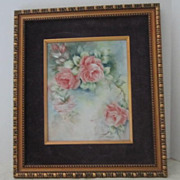 REDUCED Vintage Painting of Roses on Ceramic Tile Signed by Drucilla
