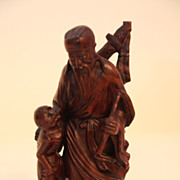 SALE Vintage Oriental Wood Carving of Man With Child
