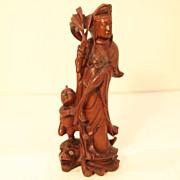 SALE Vintage Wood Carving of Quan Yin Protecting Child