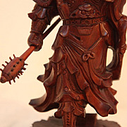 Vintage Wood Carving of Chinese Warrior