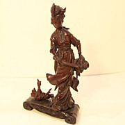 Vintage Wood Carving of a Woman