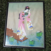 REDUCED Vintage Signed Japanese Watercolor on Silk of Geisha