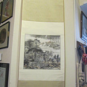 REDUCED Vintage Oriental Mountain Scene Hanging Scroll