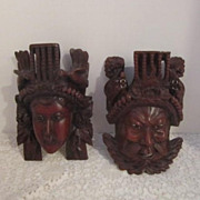 Vintage Pair of Carved Wooden Mongolian Warrior and Mate  Masks