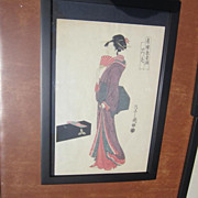 REDUCED Japanese Print of a Wood Block Print Of A Geisha Standing, Signed