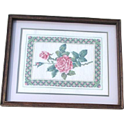 Framed Needlepoint Picture of Pink Roses