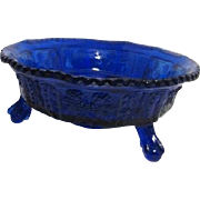 Footed Cobalt Blue Glass Blackberry and Butterfly Bowl