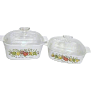 Pair of Lidded Corning Ware Spice of Life Serving and Cookware