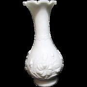 Vintage White Milk Glass Vase with Embossed Roses