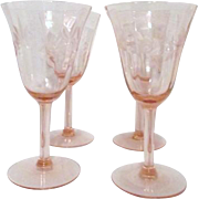 Set of 4 Pink Wine Goblets with Etched Leaf Pattern