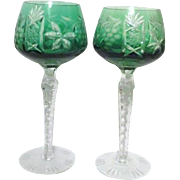 Pair of Crystal Green Cut to Clear Wine Goblets