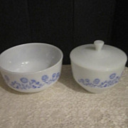 "Vintage Mixing Bowl and Covered Bowl ""Cornflower Pattern"" by the Federal Glass Compa"