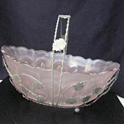 Vintage Pink Satin Glass Bride's Basket with Wire Container