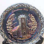 Vintage Fenton Carnival Glass Decorator Plate Christmas 1970