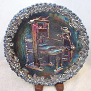 Vintage Fenton Carnival Glass Decorator Plate with First Printing Press