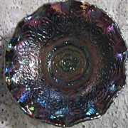 Vintage Fenton Carnival Glass  Blue/Amethyst Iridescent Persian Medallion Bowl