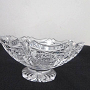 Vintage Small Crystal Hand Cut Footed Bowl