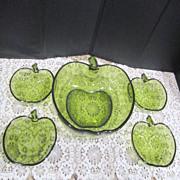 SALE Anchor Hocking Emerald Green Apple Set Salad/Dessert Bowls
