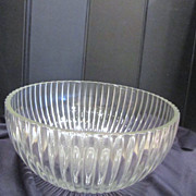Large Sun Flower Clear Glass Serving Bowl