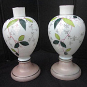 Vintage Pair of Bristol Hand Painted Mantle Vases