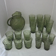 SALE Anchor Hocking Avocado Green Soreno Set of Pitcher and 17 Glasses 3 Sizes