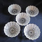 """SALE Set of 5 Cut Glass 4"""" Bowls"""