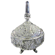 Clear Crystal Footed Candy Dish with Lid
