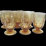 Vintage Fostoria Amber Thumb Print 6 Glasses
