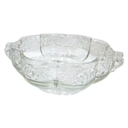 Clear Glass Handled Scalloped Bowl with Rose Border