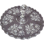 Glass Etched Handled Tidbit Serving Tray