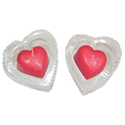 SALE Pair of Lead Crystal Heart Shaped Candle Holders with Heart Shaped Candles
