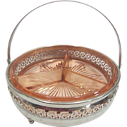 Pink Divided Candy/Nut Dish in Metal Filigree Basket