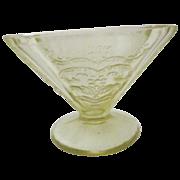 Set of 4 Amber Madrid Depression Glass Sherbet/Dessert Glasses with Saucers
