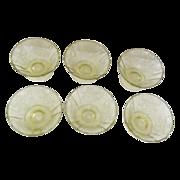 Set of 6 Amber Madrid Depression Glass Sherbet/Dessert Dishes