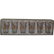 Set of 6 Gold Trimmed Shot Glasses in Original Box