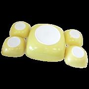 Pyrex Square Yellow Salad Bowl & 4 Individual Bowls