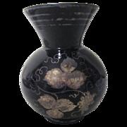 Black Amethyst with Silver Grape Leaf Design
