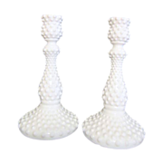 """Pair of Tall 9"""" Hobnail Milk Glass Candle Holders by Fenton"""