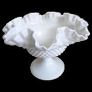 Hobnail Milk Glass Ruffled Edge Bowl