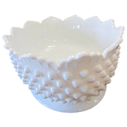 Oval Crown Point Hobnail Milk Glass Bowls