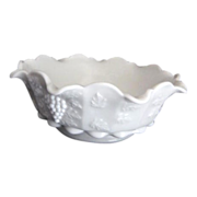 Westmoreland  Ruffled Edge and Paneled Grape Cluster Milk Glass Bowl