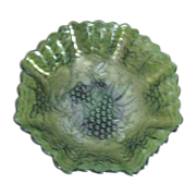 Imperial Glass Grape Cluster with Ruffled Scalloped Edges Carnival Green Glass Bowl
