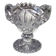 "4 1/2"" High Clear Pressed Glass Compote"