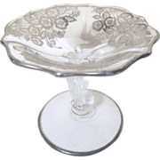 Small Footed Candy Dish with Silver Overlay