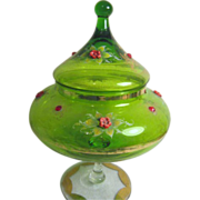 Victorian Green Footed Bowl with Lid, Decorated with Applied Flowers and Rhinestones