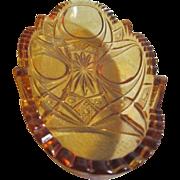 Amber Depression Glass Relish Dish with Press Design