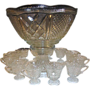 Two Piece Footed Punch Bowl 12 Footed Cups Diamond Quilted Panel Pattern