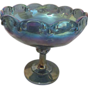 Indiana Blue Carnival Glass Teardrop Pattern Footed Compote c1970